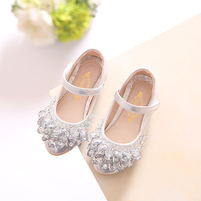 SLYXSH 2018 NEW Rhinestone Glitter Kids Girls Shoes Princess Girls Sandals  Toddler Big Girls Wedding Party Shoes