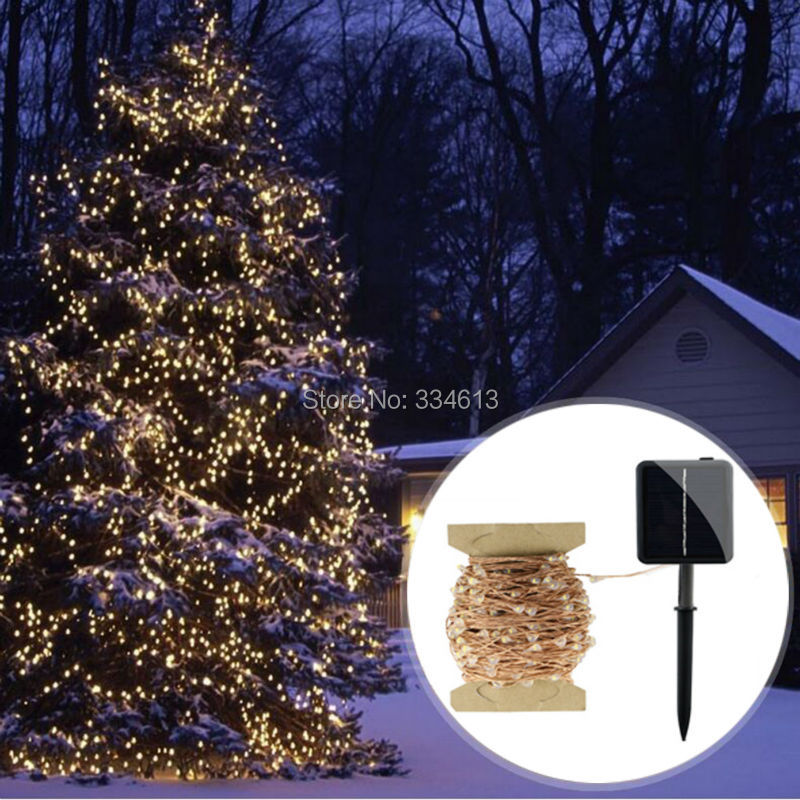 Solar Powered 30M/99FT 300LEDs Outdoor Copper Wire Dimmable String Lights Flash Starry Lights Bouquet Christmas Decoration