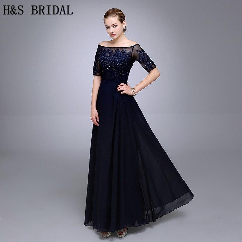 Real Picture Half Sleeve Custom Made Navy Blue Lace Beaded Long Evening Party Dresses Vestido De Festa Chiffon Evening Dress