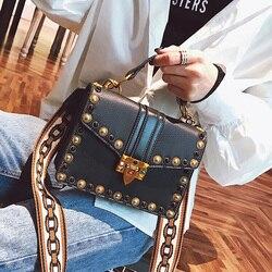 Moda britânica retro feminina bolsa 2018 nova alta qualidade couro do plutônio bolsa feminina rebite bolsa de ombro portátil mensageiro