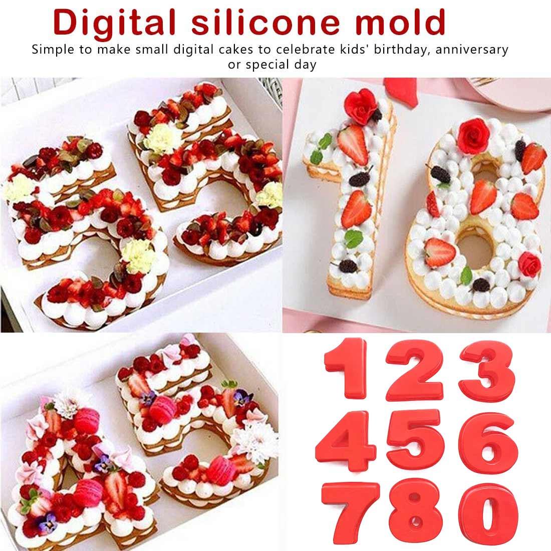 Silicone Baking Number Cake Mold Baking Molds for Wedding Birthday Celebration