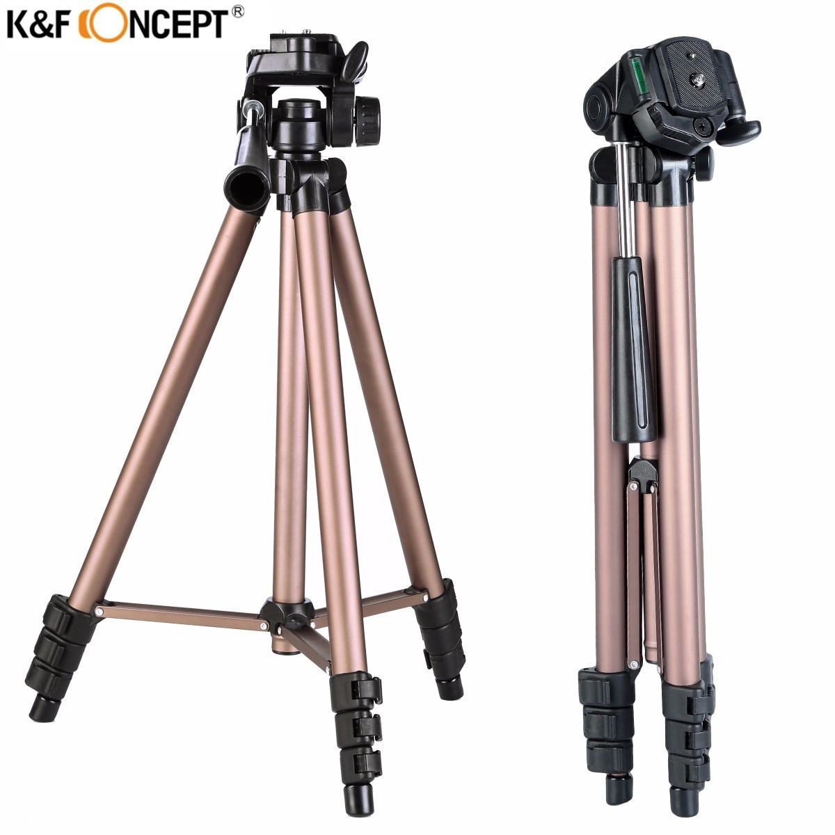 최신 K & F CONCEPT 캐논 니콘 소니 SLR DSLR 디지털 카메라 용 팬 헤드 스탠드와 전문 휴대용 합금 카메라 삼각대