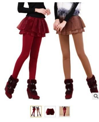 1 piece Women's Pants With Mini Faux chiffon Skirt Warm False Two Pieces Leggings Fashion Stretch 2 In 1 pencil Pants