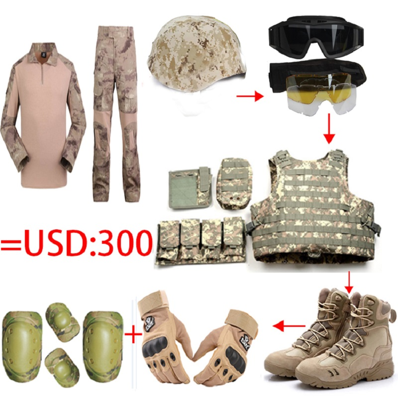 Full set tactical helmet/Glasses/vest/Camo frog tops pants/US Seal Army Gloves/Military Desert Combat Boots/4pcs Knee Elbow Pads okulary wojskowe