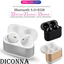Diconna Bluetooth 5.0 Headset Mini TWS Wireless In-Ear Stereo Earphones Earbuds pymh bluetooth 5 0 headset mini tws twins wireless in ear stereo earphones earbuds