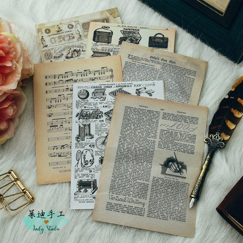 KLJUYP Vinatge Newspaper junk Journal paper set for Scrapbooking Happy Planner/Card Making/Journaling Project