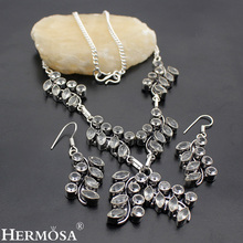HERMOSA jewelry The new white Beautiful 925 Silver Leaf White Topaz necklace earring exquisite luxury set