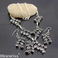 HERMOSA jewelry The new white Beautiful 925 Silver Leaf White necklace earring exquisite luxury set HF229