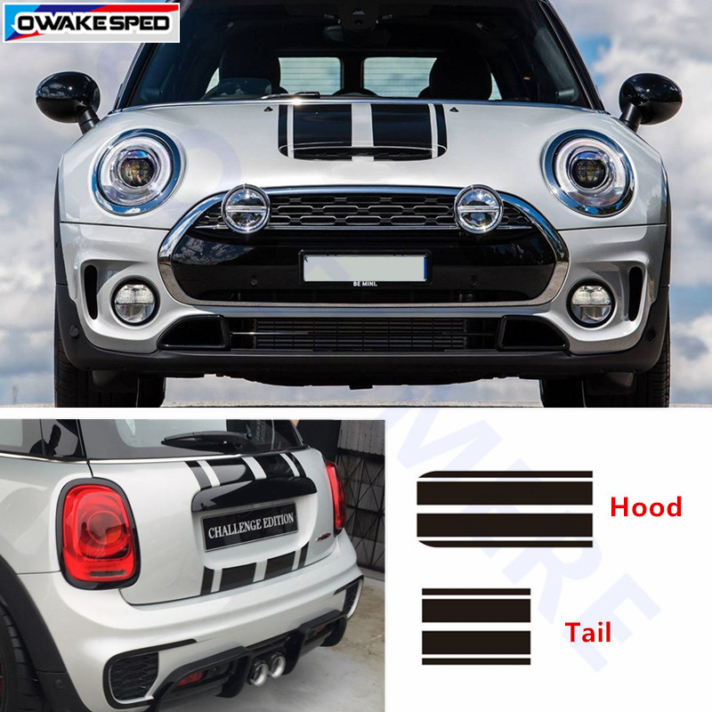 Racing Stripes Car Hood Tail Sticker Auto Accessories Decal For Mini