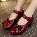 2017 Spring and summer Ethnic Style Handmade Shoes Women Mid Heels Pumps Round Toe High Heels Genuine Leather