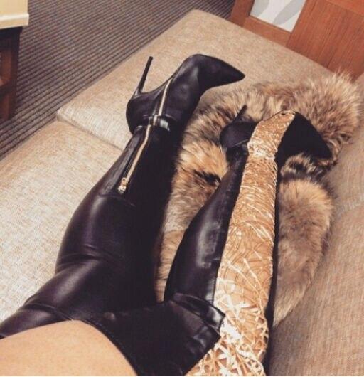 As Hauts Nouvelle Unique Plus Taille10 Pointu Mode Femmes Évider D'hiver Bottes À Talons Patchwork Haute Color De Cuisse Bout Showed Bottes Arrivée A7rnq7wgH