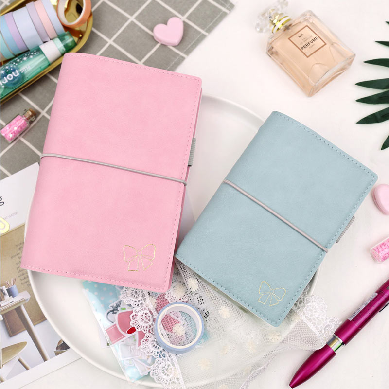 Yiwi Blue Pink A6 A7 Loose Leaf Notebook Diary Plan Ring Binder Spiral Notebook Weekly Planner Agenda School Office Supplies