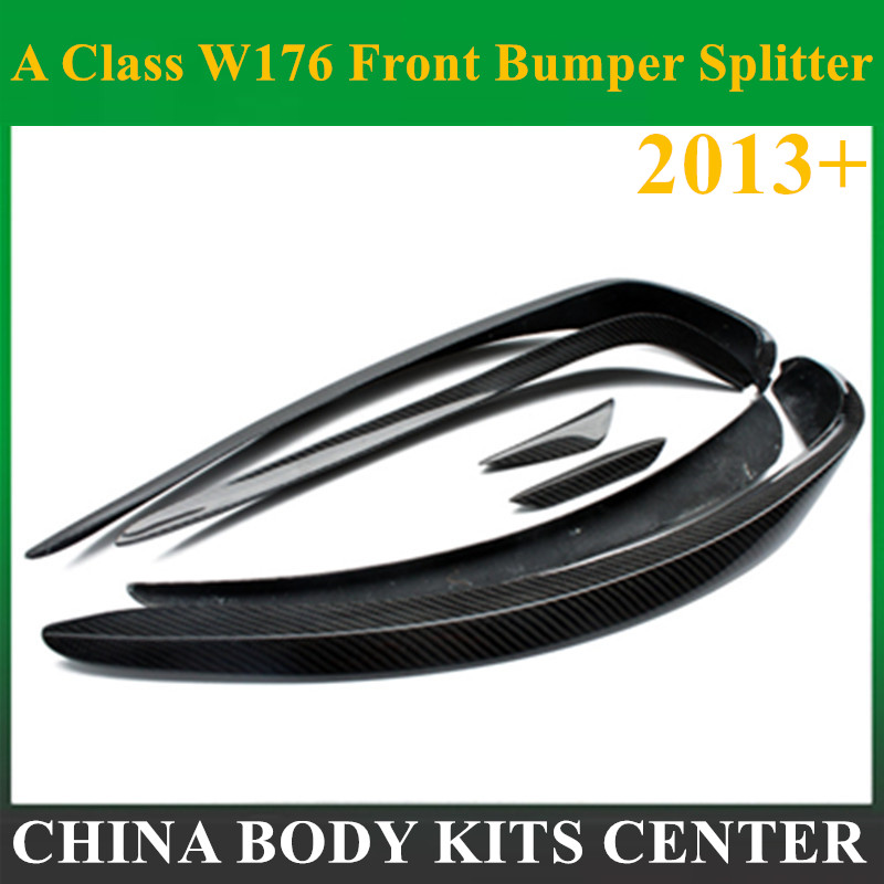 Mercedes W176 Front Bumper Splitter Lip Carbon Fiber Canards Spoiler For Benz A Class W176 A160 A180 A220 <font><b>A200</b></font> With <font><b>AMG</b></font> Package image