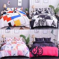 Boniu Geometric Pattern Bedding Set 2/3pcs Gradient Lattice Duvet Cover Bed Set Comfortable Twin Size Quilt Cover Pillowcase