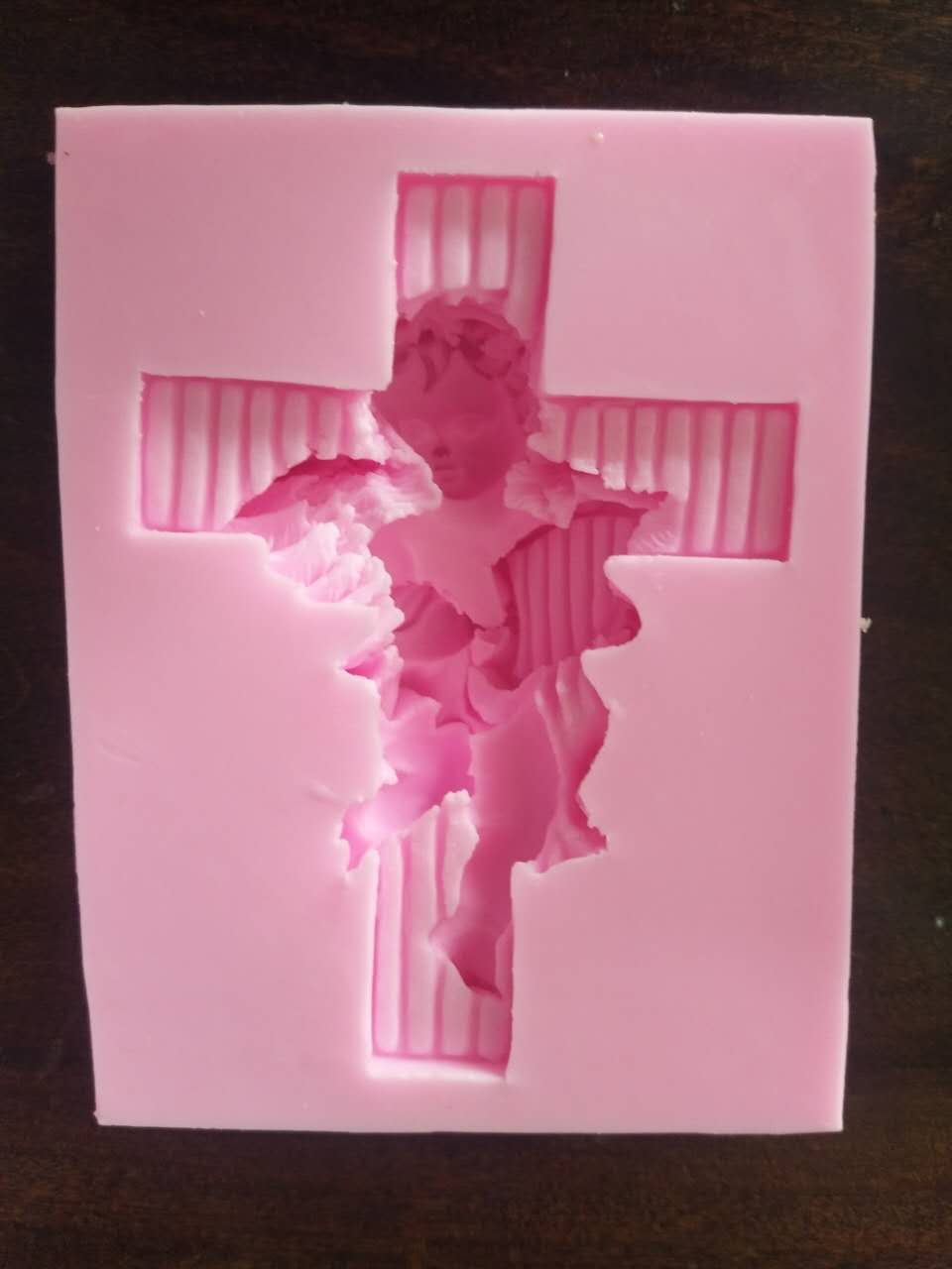Angel On The Cross Eco-friendly Fondant Polymer Clay Silicone Mold DIY Cake Decoration Tools Fondant Soap Mould H237