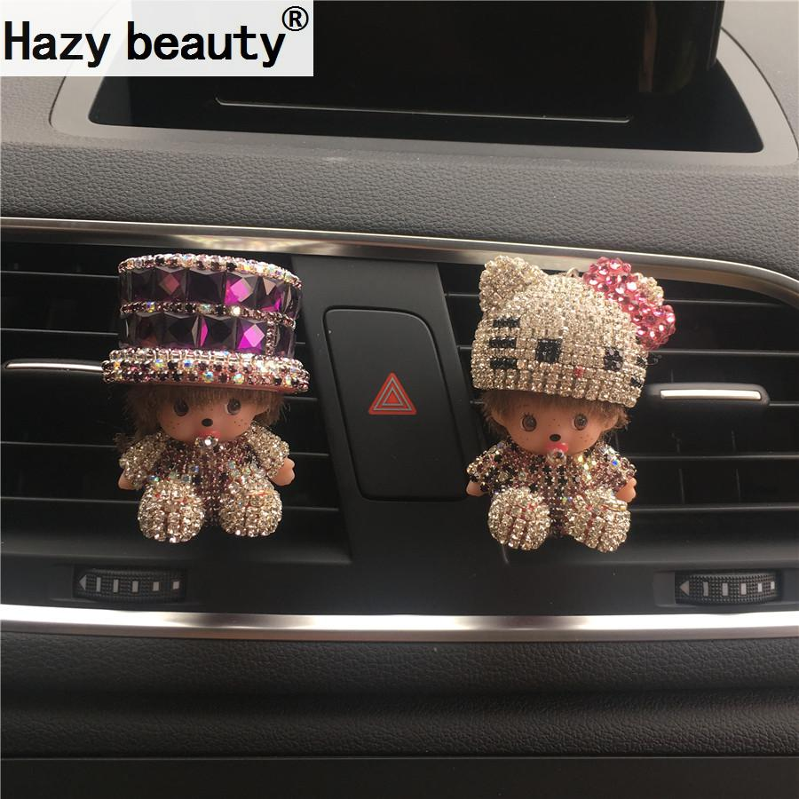 Car perfume seat diamond hat cartoon car perfume seat type crystal ornaments decorated sweet Car-styling Air Freshener car outlet perfume air freshener with thermometer lime