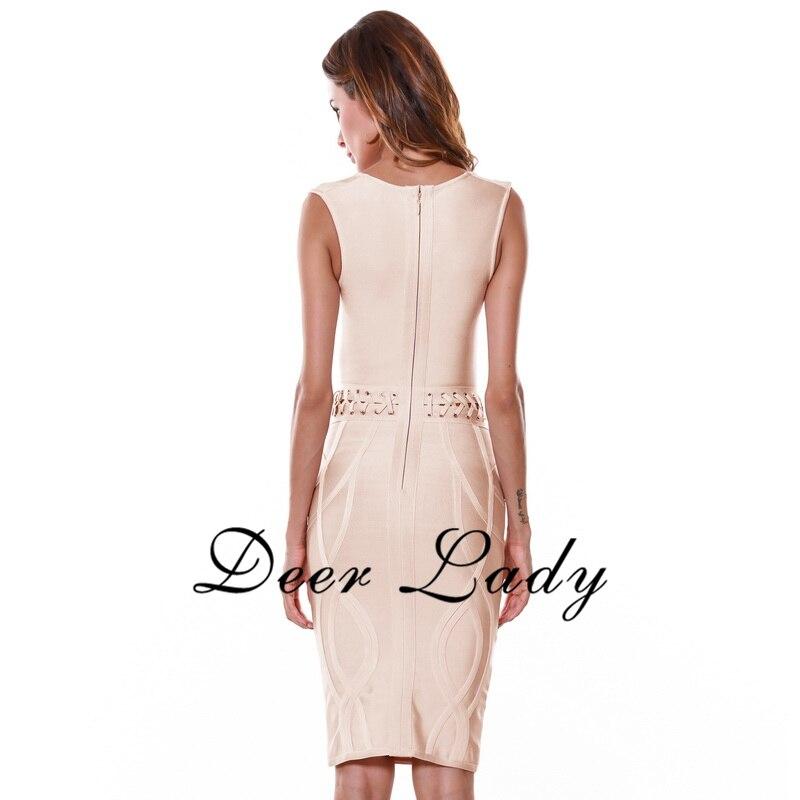 Sleeveless Bandage Dress Rayon Sexy Deep V Neck Dress Knee Lenth Hollow Out Dress 2016 Wholesale HL - 3