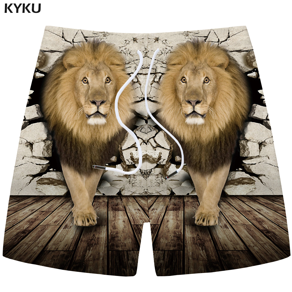 KYKU Lion Shorts Men Wall Animal Casual Short Pants Beach Cargo 3d Printed Cool Vintage Mens Shorts New Summer Homme Fashion