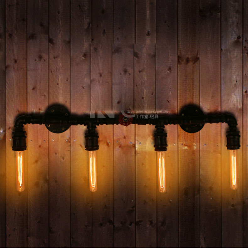 Loft Industrial Personality Vintage Wall Lamp With 4 Lights For Home Cafe Bars Decoration Vintage Water Pipe Wall Lighting