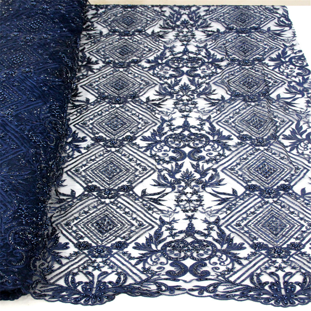 New Design Sequied Net Lace Blue Sequins Embroidered Tulle Lace African Women Evening prom Fabrics HJ156