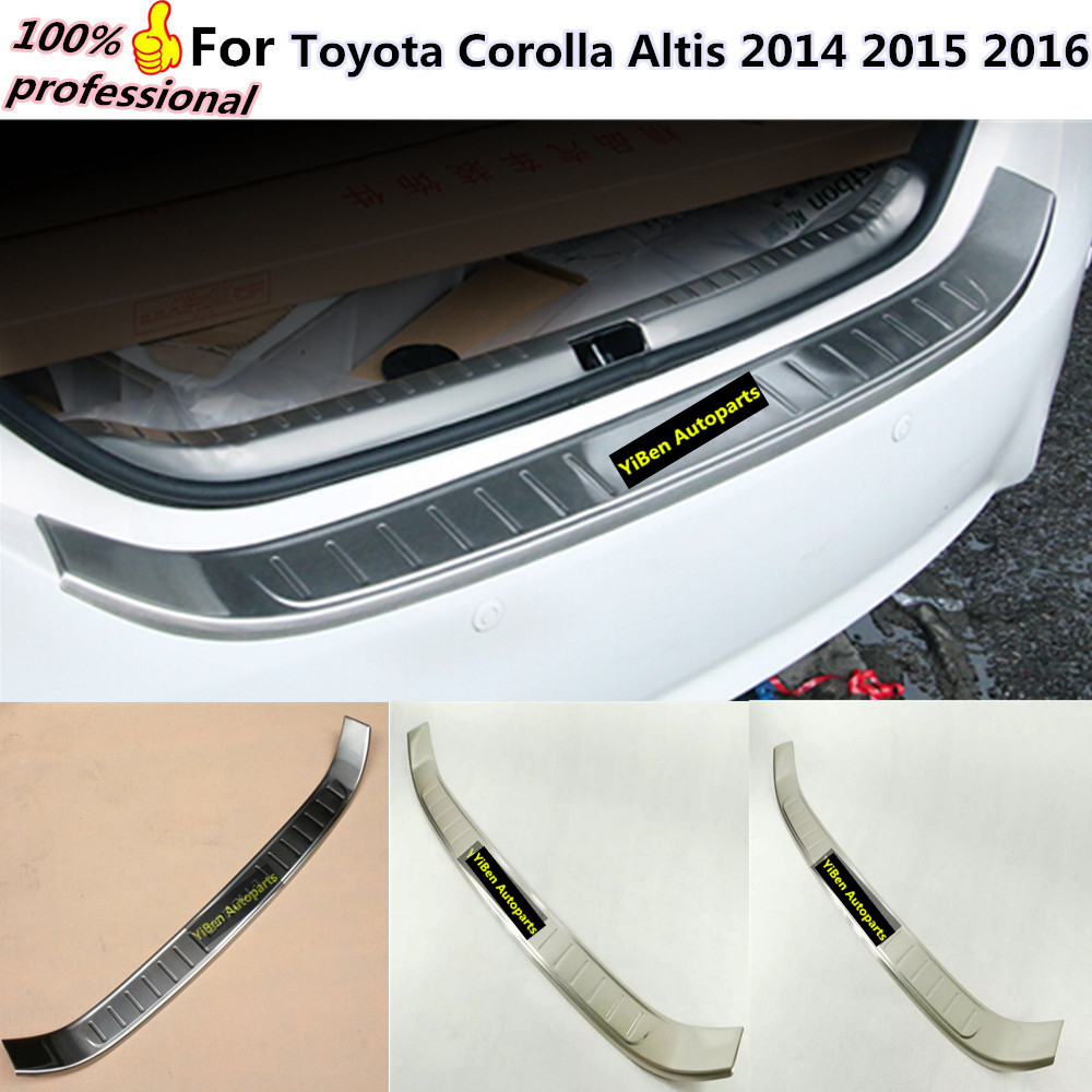 Car body external Rear Bumper trim Stainless Steel Scuff Sill trunk plate pedal 1pcs for Toyota Corolla Altis 2014 2015 2016 car gear panel glove box panel glass frame panel stainless steel trim for toyota 2014 2015 corolla not for european model
