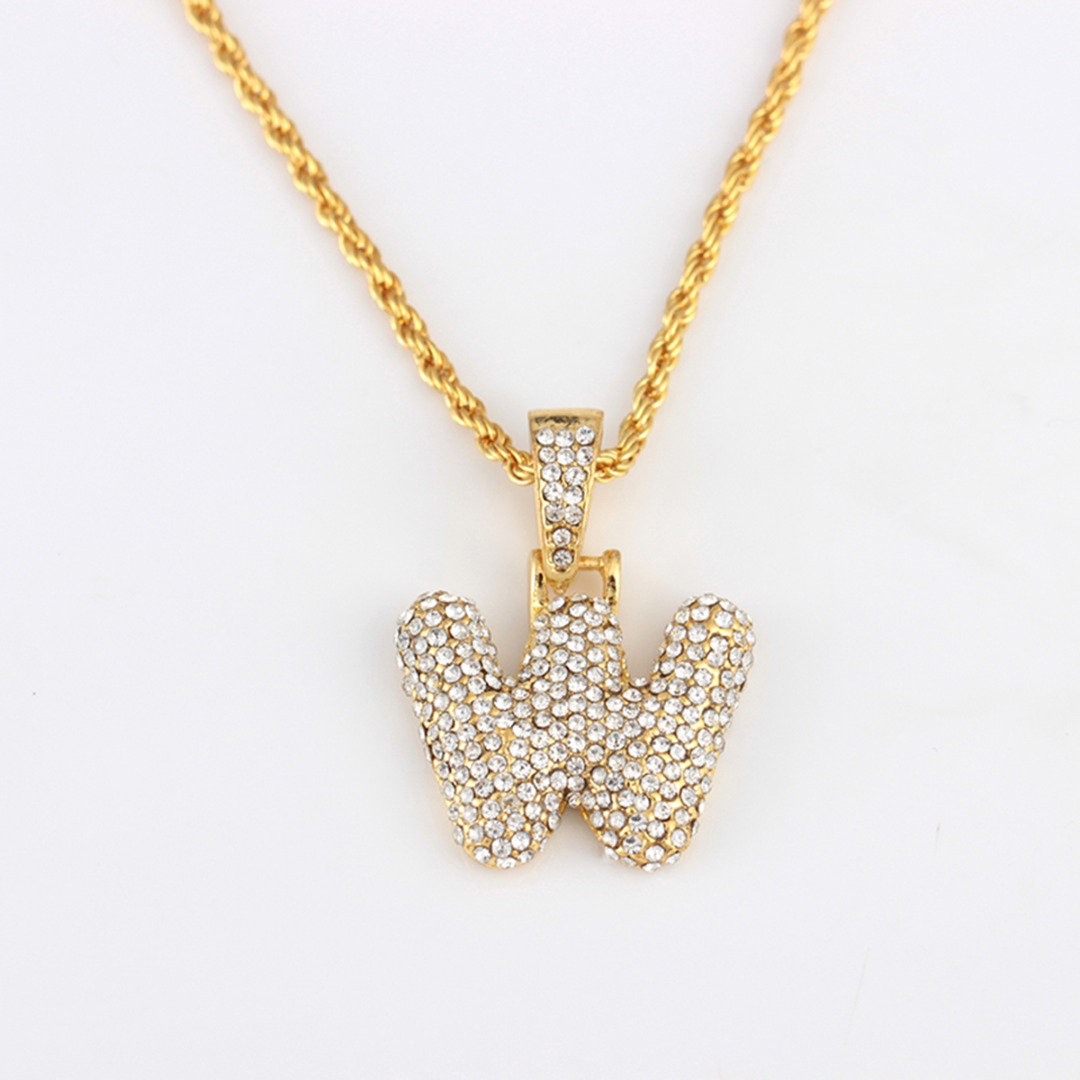 Hot Iced Out Zirconia Crystal 26 A-Z Letters Pendant Necklace for Men Punk Initials Name Necklace Fashion Men Hip Hop Jewelry