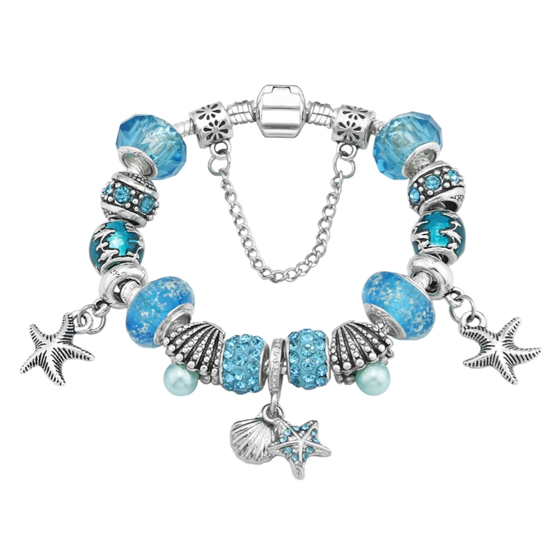 European ocean style sky blue color Charm handmade Starfish pendant Bracelet & Bangle for women fine outdoor jewelry KM404