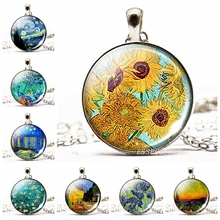 Van Gogh's Sunflower Necklace Starry Night Glass Cabochon Silver Plated Chain Pendant Necklace Art Jewelry Gift for Best Friends 2019 new best selling starry unicorn series glass cabochon jewelry pendant necklace fashion jewelry gift