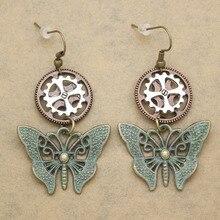 Retro Gold Silver Patina Butterfly Watch Clock Gear Lolita Steampunk Drop Dangle Earrings Women Oorbellen Jewelry Orecchini