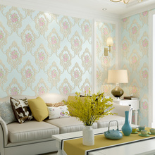 European Floral Wall Papers Home  Decor Bedroom Walls Pink Blue Rustic Paper Roll for Living Room Deroration Mural