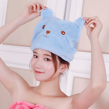 Cartoon Cubs thickened coral velvet childrens dry hair hat towel adult Microfiber Super Absorbent  quick wrapping