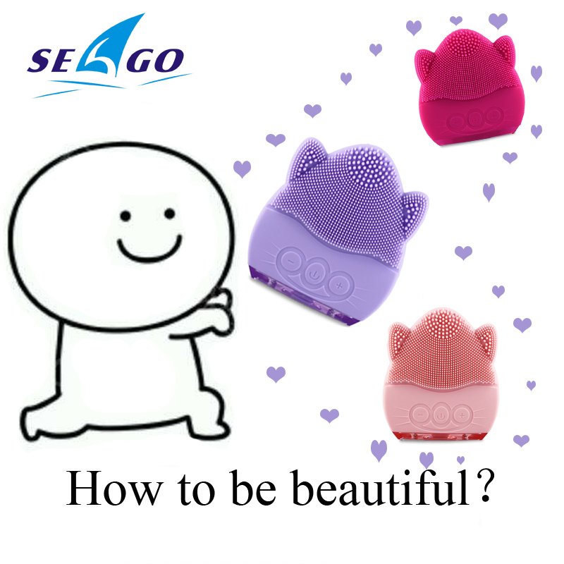 Seago New Face Brush Facial Cleansing Brush Electric 3D Silicone Ultrasonic Beauty Instrument Spa Massager Beauty Tool SG3002 цена