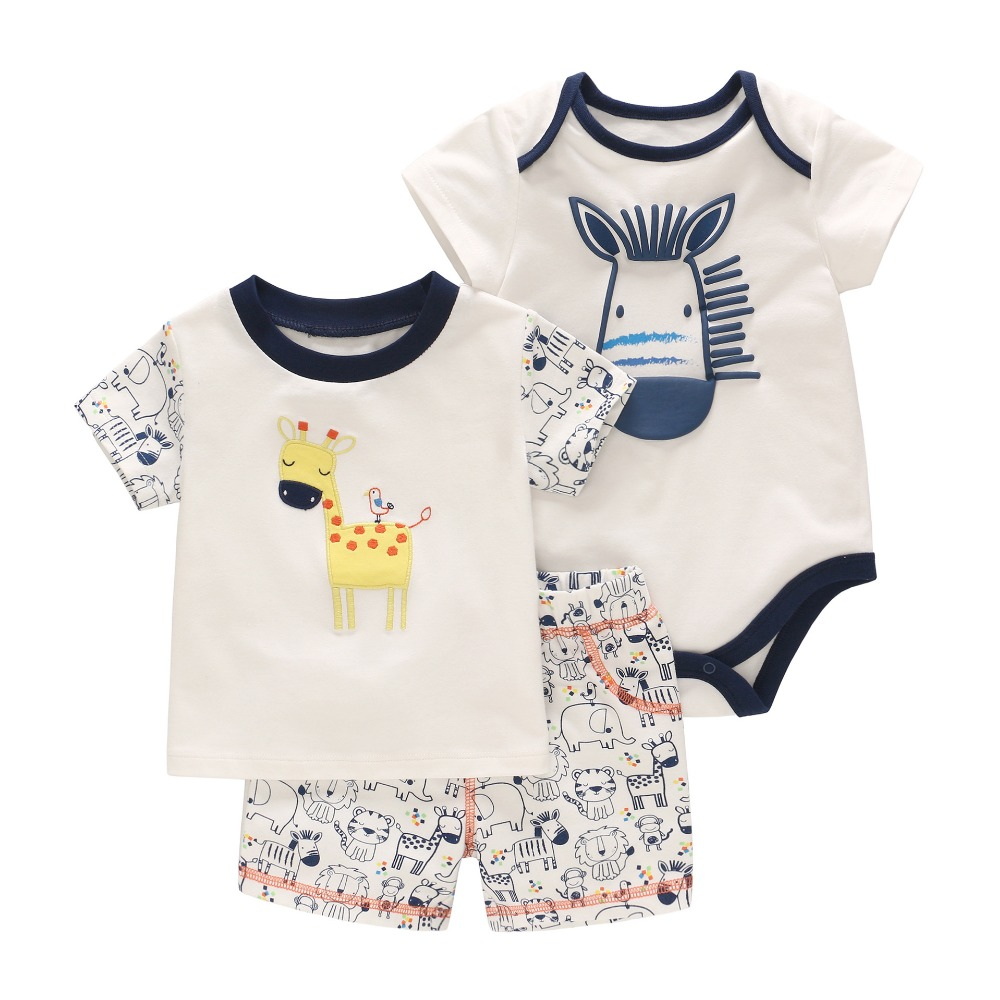 Baby Boy Clothing Set Baby Romper+Cartoon T-shirt+Short Pants 3pcs Clothing Newborn Clothes Giraffe Animal Print Summer Top newborn baby boy girl clothes set short sleeve top bodysuits leg warmer bow headband 3pcs clothing outfits set