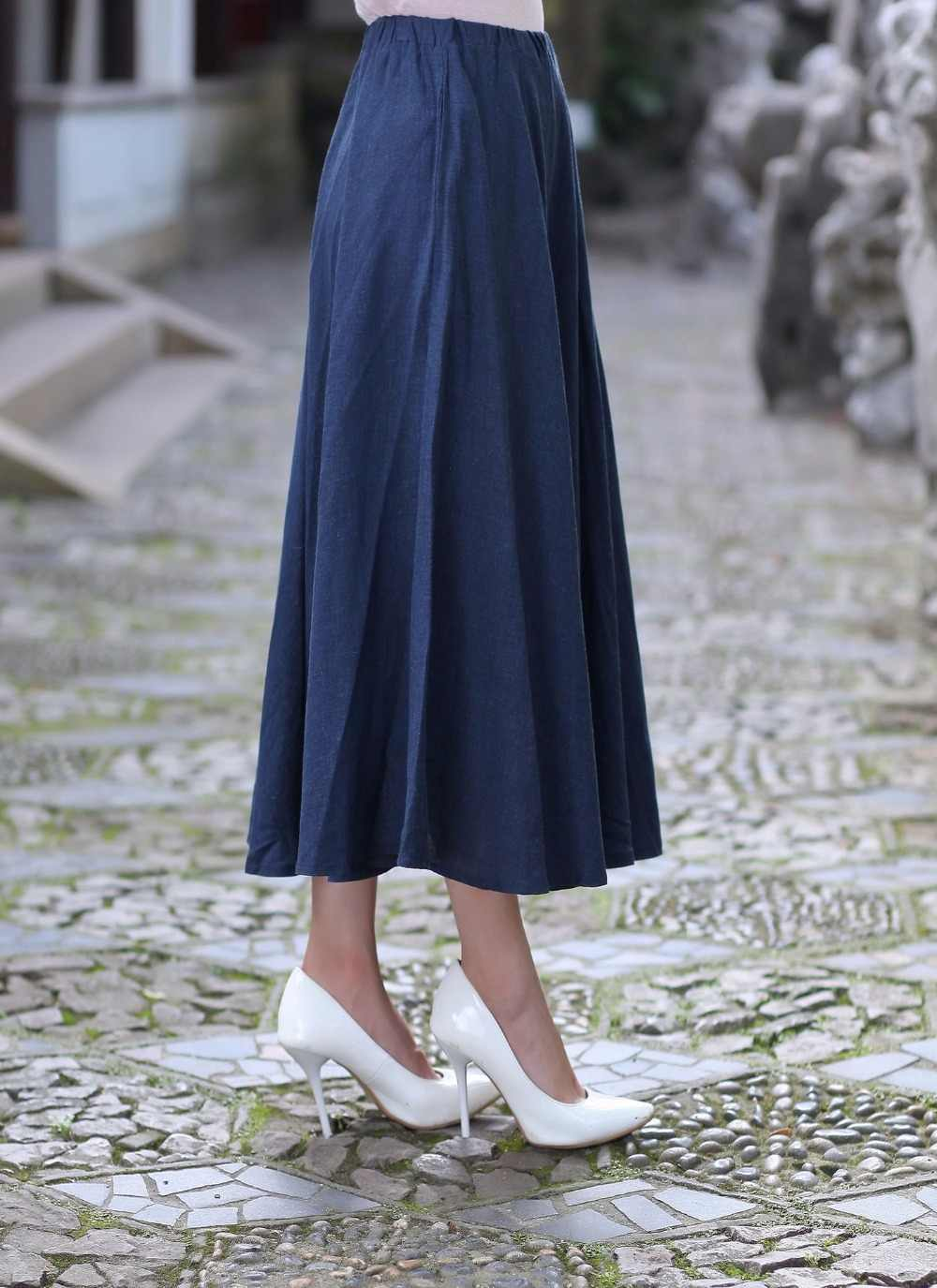 3fe56fd0f2 ... Women Summer Casual Cotton Linen Long Skirt Ladies' Pleated Skirt  Vintage Navy Blue Flared Skirts ...