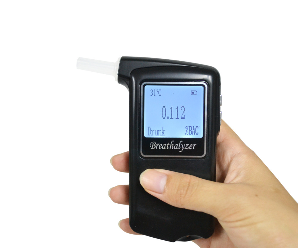 New Police Breathalyzer 2.0' Big LCD Alcohol Tester AT868F Alcotest Display Temperature with 10 mouthpiece Free Shipping