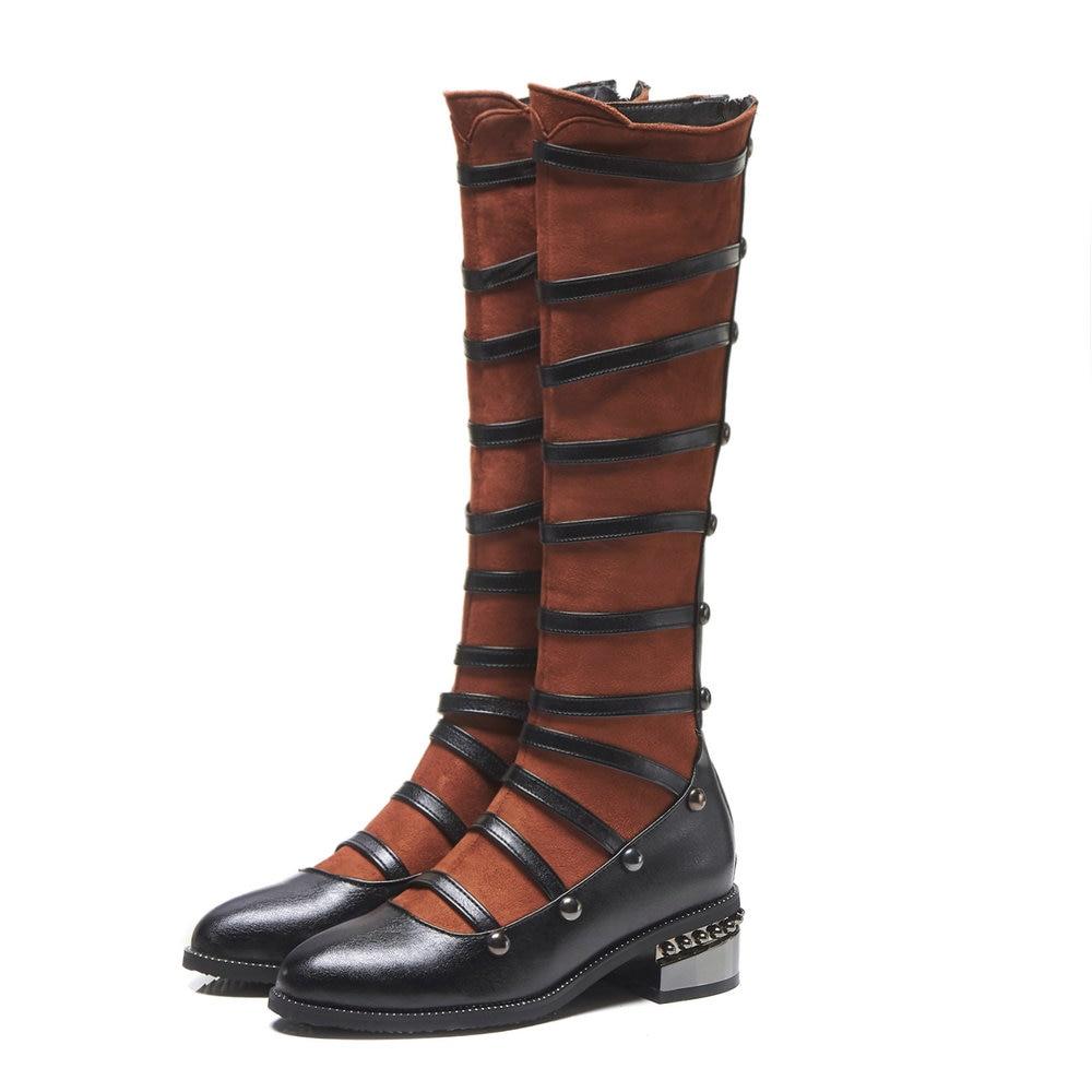 Mode Genou Mariage De Taille Long Haute Moto Bottes 48 Noir 34 Aiweiyi Chaussures brown Sexy D'hiver Femmes wRqCH8w