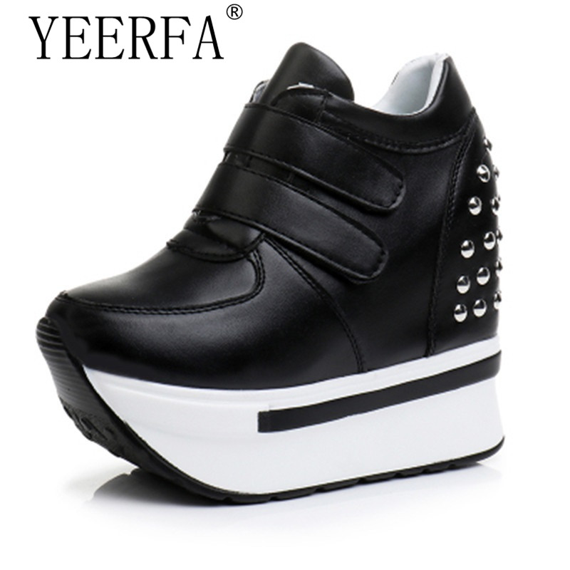 YIERFA Spring Wedges High Heels Thick Soled Ladies Casual Single Shoes Autumn Women MAGIC TAPE Platform Shoes Chaussure Femme hot new 2018 spring autumn wedges high heels ladies casual shoes vulcanize women slip on platform shoes female chaussure femme