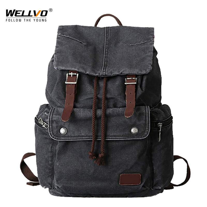 Wellvo Men Canvas Backpack Laptop School Bag Teenage Male Travel Bags Daily Fashion Business Gray Large Rucksack mochila XA2211C real genuine leather vintage backpack men school male daily backpack coffee gray fashion leisure men s travel bags vp j7280