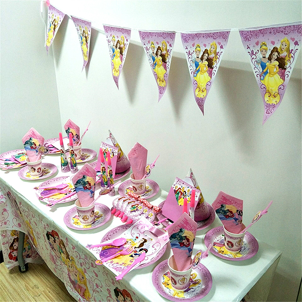 Princess Snow White Birthday Party Pack Sleeping Beauty Tangled Kids Baby Birthday Party Event Decoration Supplies Set in Disposable Party Tableware from Home Garden