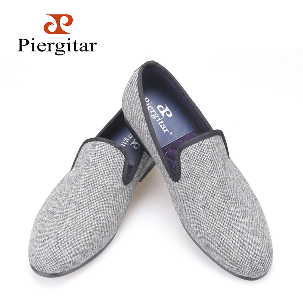 Classic Handmade Tweed in interwoven grey and black men loafers Britain style men Casual shoes traditional male flats political participation in britain