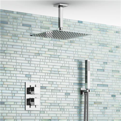 цена на 12 Ceiling Square Mixer Ultra Thin Thermostatic Shower Head Set Bathroom Chrome Valve Set