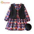 Autumn Winter Geometric Print Girls Dress With Waistcoat 2pcs Kids Dresses For Girls Outerwear 2017 New Children's Clothing