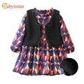 Outono Inverno Geométrica Imprimir Meninas Vestido Com Colete 2 pcs Crianças Vestidos Para Meninas Outerwear Vestuário 2017 das Crianças Novas