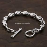 6 Lengths 925 Sterling Silver Skull Mens Boys Biker Rocker Punk Bracelet 8W004 Free Shipping