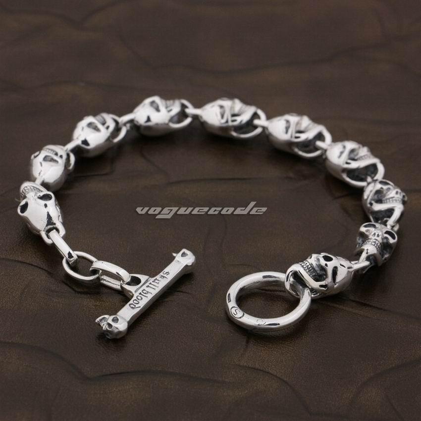 6 Longueurs 925 Sterling Argent Crâne Mens Garçons Biker Rocker Punk Bracelet 8W004 Livraison Gratuite