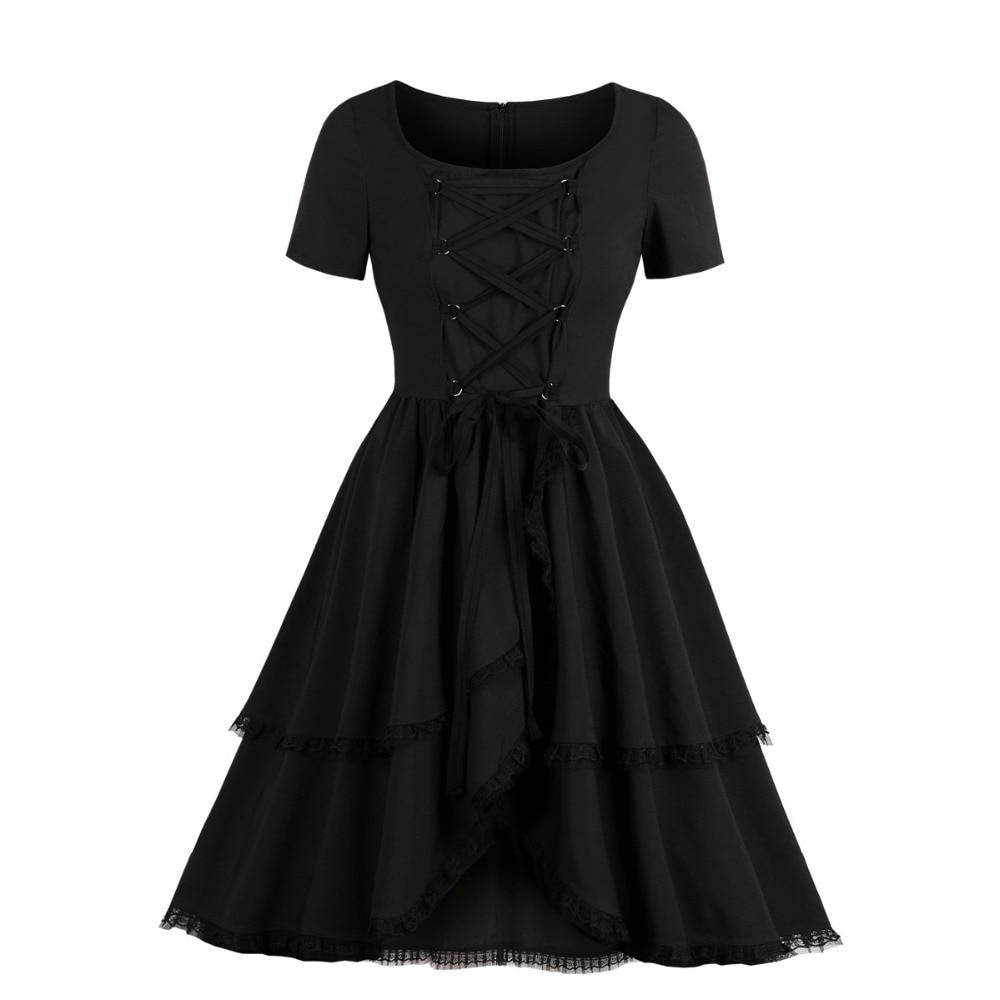 Women Fashion Elegant Party Prom Robe Lace up Lace Trim Cascading Ruffle Gothic Style Vestido Swing 1950s Retro Vintage Dress