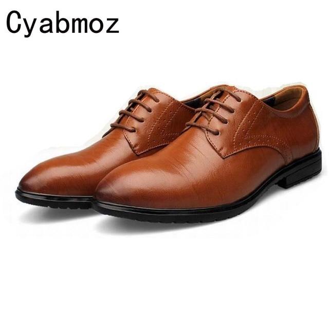 Mens Genuine Leather shoes Classic Flats Formal Dress Mens Shoes male vintage business shoes lace up