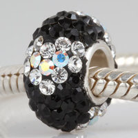 Hot Sale Pave Cubic Zirconia Beads Original 925 Sterling Silver European Style Women Charms SW0074 Wholesale