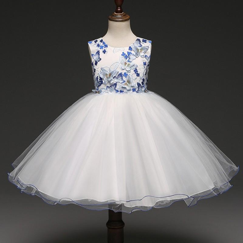 2018 Cheap Ball Gown for Little Girls with Embroidered Butterfly Short Girl Dresses Sleeveless Pageant Dress Prom Party Dresses infant baby kid children little girl pageant dress party dresses prom dresses 1t 6t g026