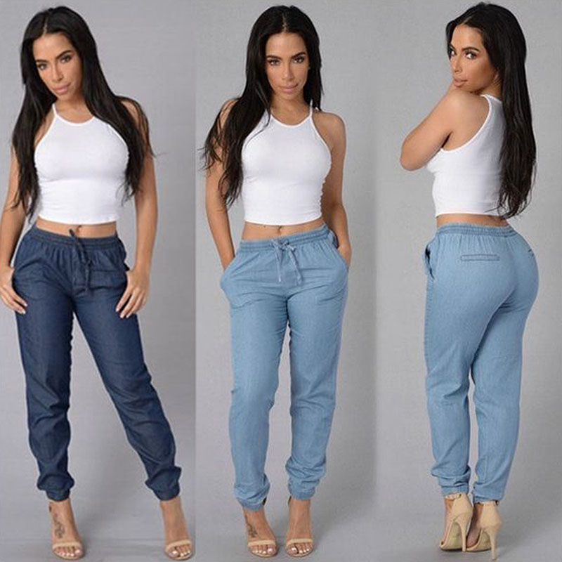 Women Solid Drawstring Elastic Waist   Jeans   Harem Pants Ladies Casual Middle Waist Denim Trousers Plus Size Long Pencil Pants